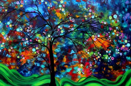abstract-art-original-landscape-painting-bold-colorful-design-shimmer-in-the-sky-by-madart-megan-duncanson